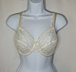 Sexy Vintage French Bra Sheer Ivory Scalloped Floral Lace Unlined Underwired 34D