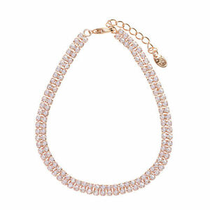 Fashion-Sparkling-Clear-White-Rhinestones-Rose-Gold-Plated-Chain-Tennis-Bracelet