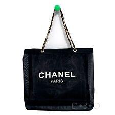 7d2e39e8aa61 Chanel сетка пляжная сумка с короткими ручками плеча Cc Vip подарок черный  золотой цепочки