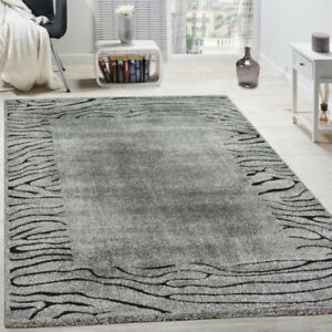 Image Is Loading Modern Rug African Style Border Pattern Rugs Grey