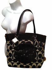 Coach Laura Signature Tote/Handbag/Purse Black/White F18335 New With Tag $298