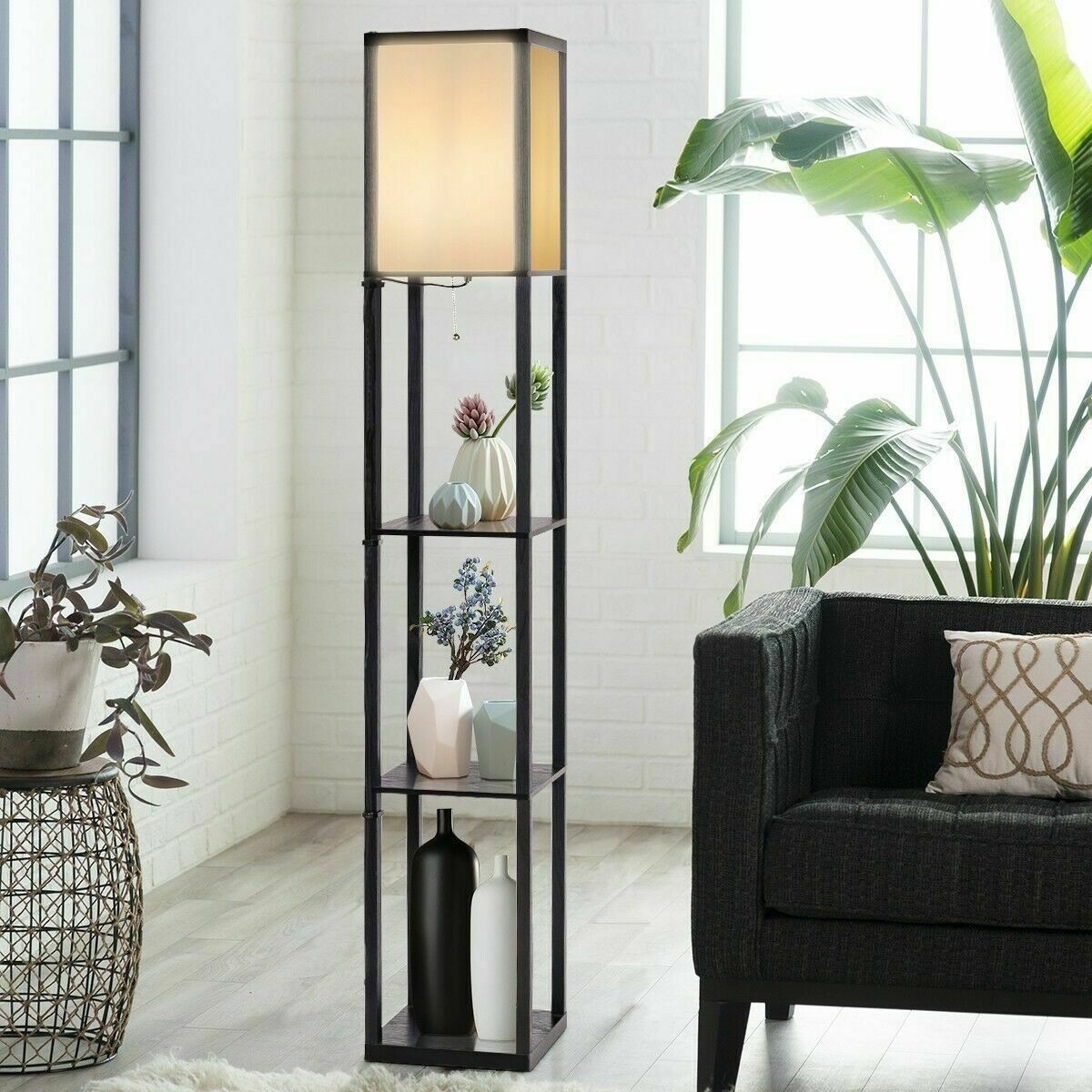 Wood Shelf Floor Lamp LED Light W/Storage Shelves For Living Bedroom