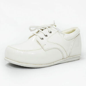 075979e87d23 Baby Boys Patent Shoes Black Cream White Formal Smart Lace Up ...