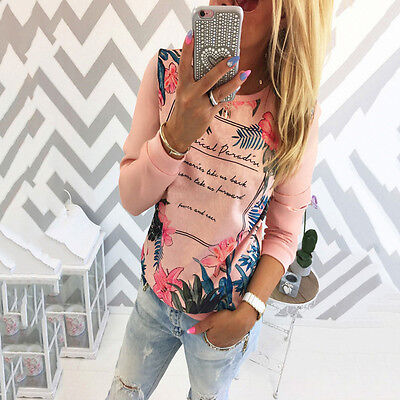 NEW Autumn Women Long Sleeve Print Shirt Casual Blouse Pullover Tee Tops T-Shirt