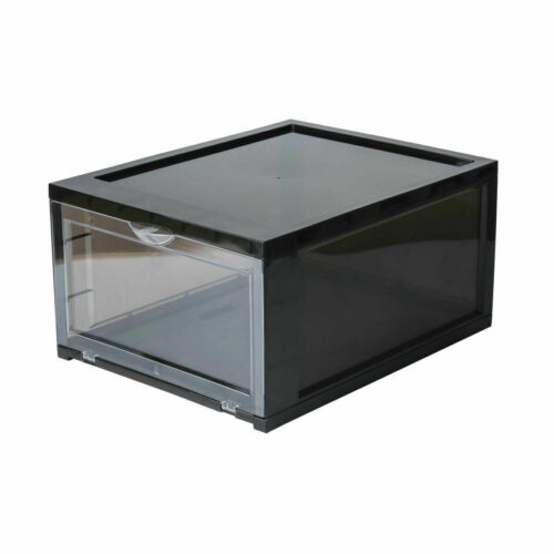 Black SneakNeat™ Drop Front Shoe Box Stackable Sneaker Container Large 10 PACK