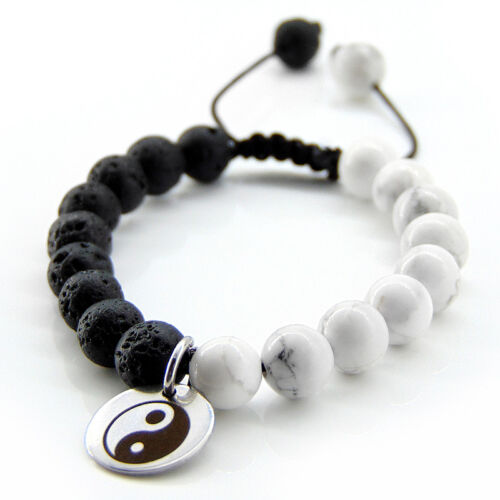 Yin Yang Anhänger silber schwarz Naturstein Lavastein Howlith Herren Armband