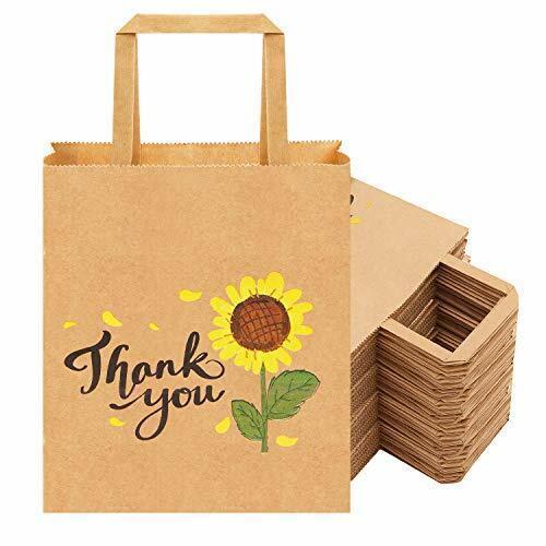 Kraft Small Paper Gift Bags with B 50Pcs 8x4.75x10 Thank You Gift Bags Bulk