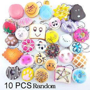 10Pcs Jumbo Medium Mini Random Squishy Soft Panda/Bread/Cake/Buns Phone Straps