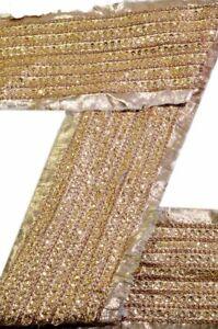 Vintage-Sari-Border-Hand-Jari-Sequin-Work-1-Yd-Indian-Trim-Golden-Ribbon-Lace