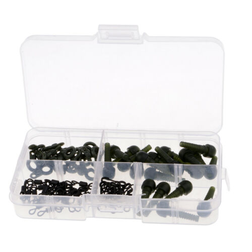 80pcs//set Quick Change Clips Carp Fishing Run Rings Rig Stops Tadpole Beads