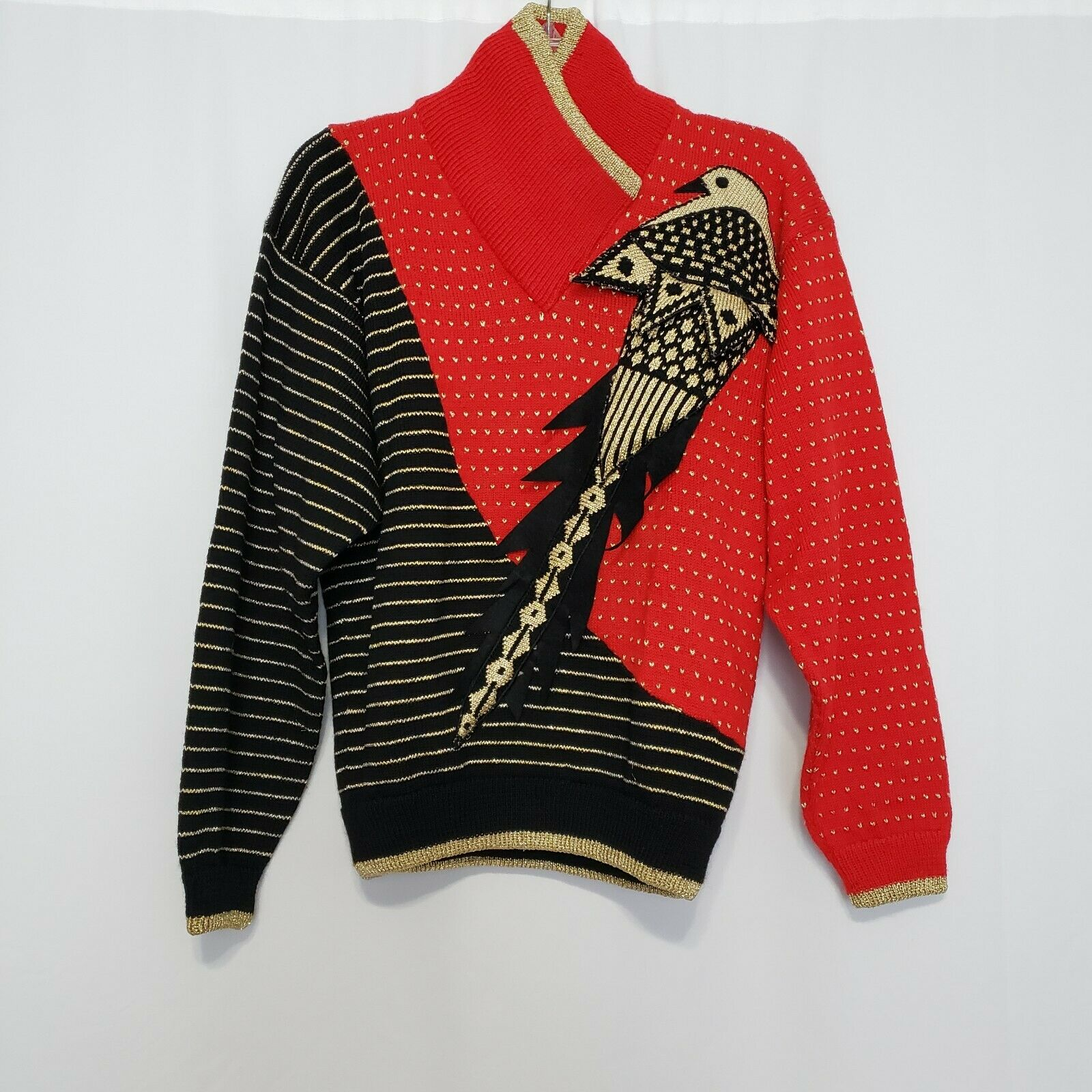 Kansai Yamamoto Vintage Bird Theme Sweater size S… - image 1