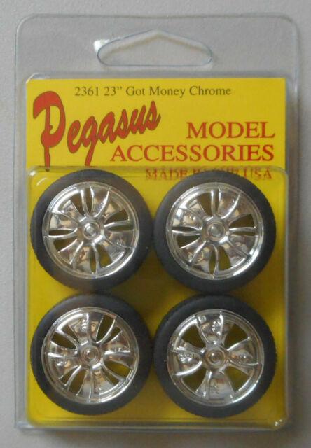 4 Pegasus 1125 x 1//24-1//25 Reverse Chrome Rims w//Tires