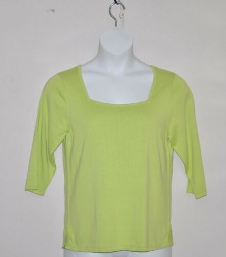 Linea by Louis Dell/'Olio Square Neck Short Sleeve Sweater Size 1X Lime