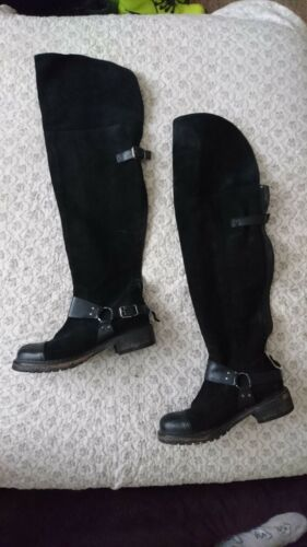Flat Suede Size Boots Knee Leather Black 6 Over qwYngxII