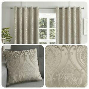 Curtina-CHATEAU-Natural-Jacquard-Eyelet-Curtains-amp-Cushions