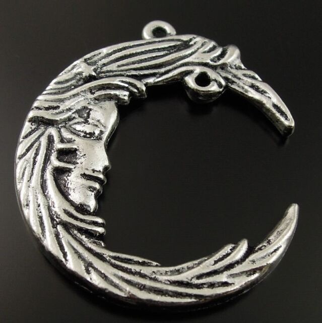 10 pcs Vintage Silver Alloy Crescent Half Moon Pendant Charms Jewelry Making DIY