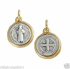 Saint St Benedict Two Tone Catholic Religious Medals Made in Italy,3 Set,X-Small