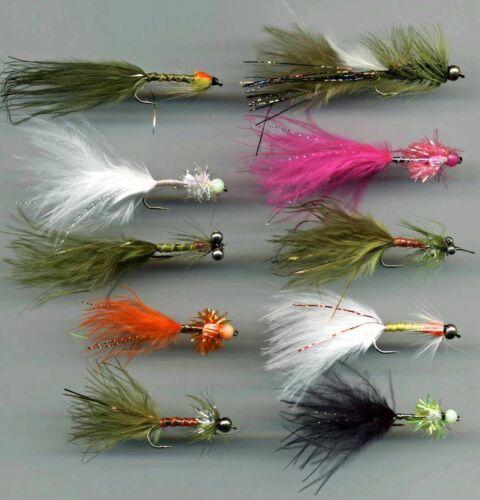 Trout Flies Damsel Marabou Nymphs x 10 all size 10 Long Shank code 101