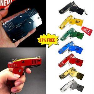 Rubber Band Gun Mini Metal Folding 6-Shot with Keychain Rubber Band 100