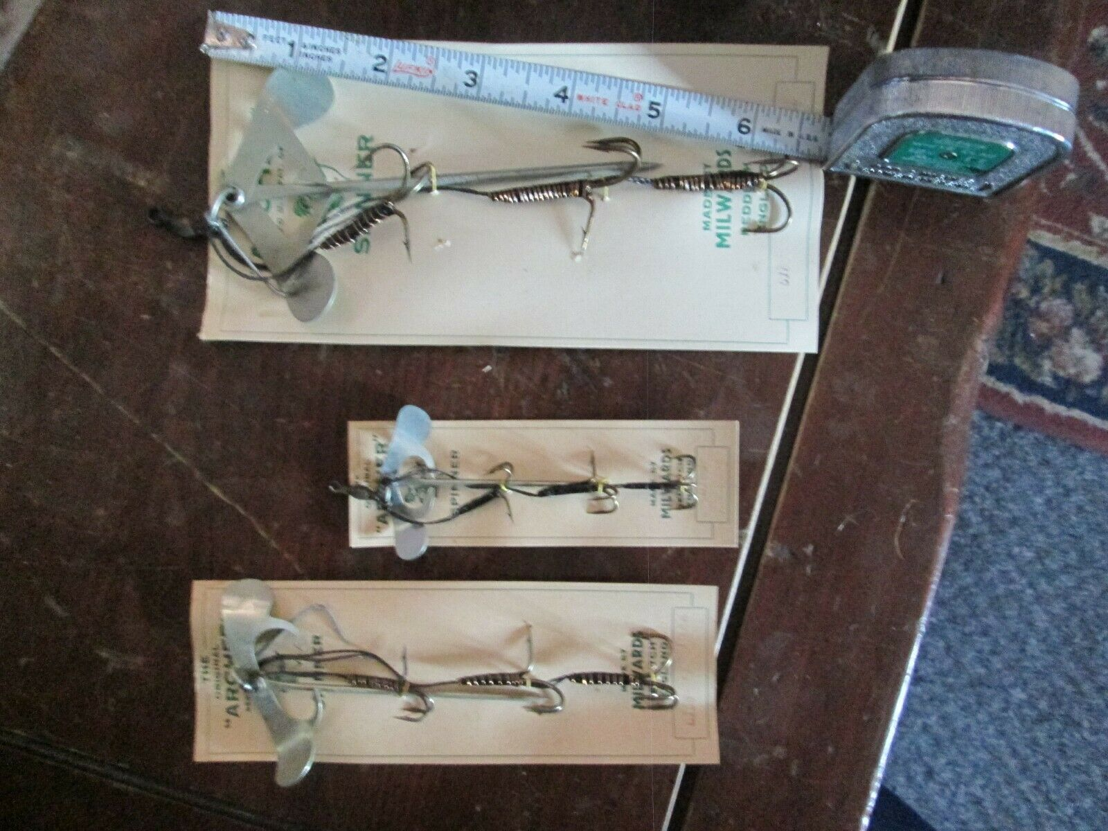 3 NOC Vintage Archer Fishing Hook Lure Made England Bait Spinner Mount Harness