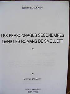Bulckaen-Personnages-Secondaires-Romans-SMOLLETT-Etudes-Anglaises-Didier-1992