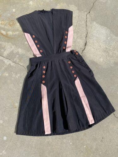 Vintage 1930s Black & Pink Rayon Mini Dress Bakeli