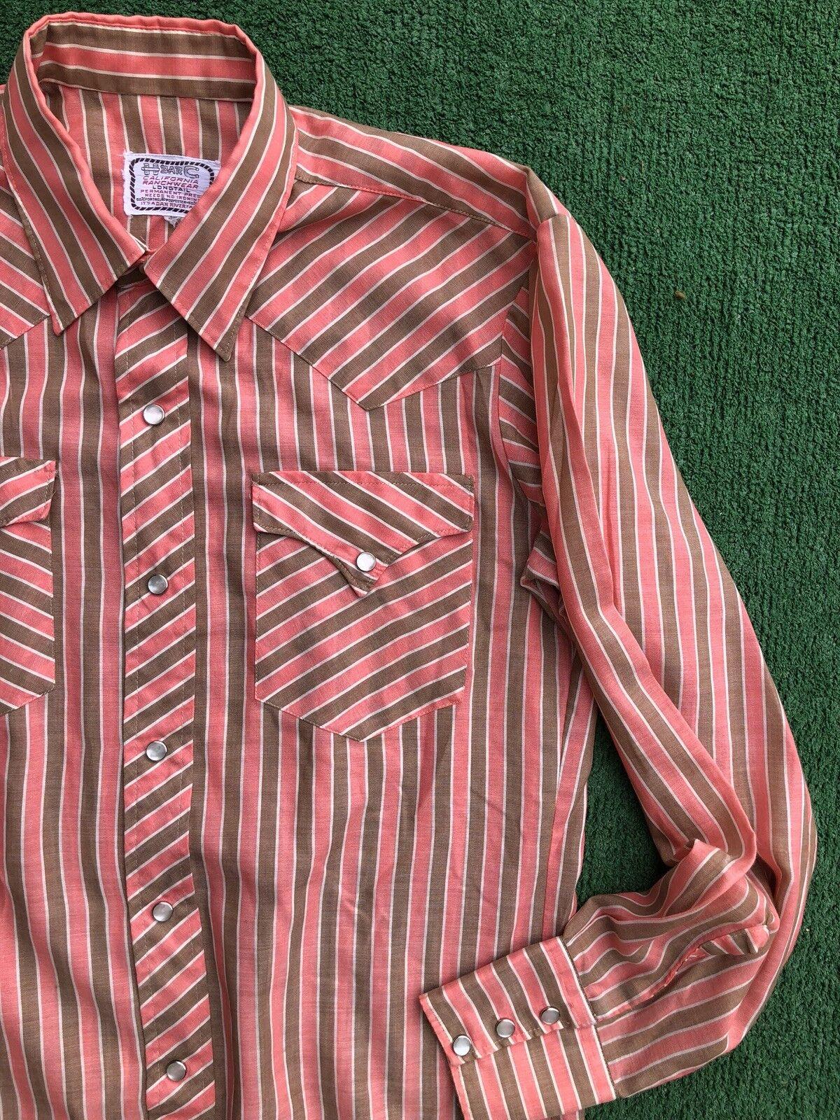9bea8422064 VTG Men's H BAR C Long Pearl Snap Pink Brown Stripe Western Shirt ...