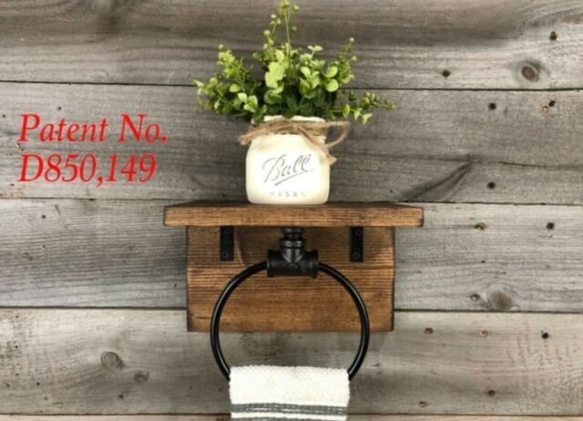 Surprising Rustic Industrial Towel Ring With Shelf Cast Iron Black Pipe Ring Wall Mounted Machost Co Dining Chair Design Ideas Machostcouk