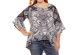 c1fcf211d9411e Details about ONE WORLD GRAY PRINTED W  CROCHET LACE 3 4 BELL SLEEVE KNIT  HI-LO TOP PLUS Sz 2X