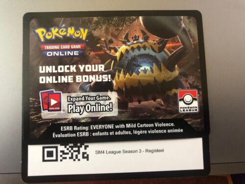 Pokemon TCG Online SM4 League Season 3 Registeel Code Card