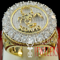 Mens Yellow Gold Silver Lab Diamond Scorpio Zodiac Astrology Designer Pinky Ring
