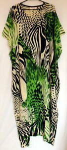 Batik-Kaftan-Calf-Length-Artistic-Design-Black-Green-New