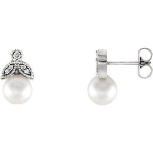 White Freshwater Leaf Pearl & Diamond Earrings In Sterling Silver