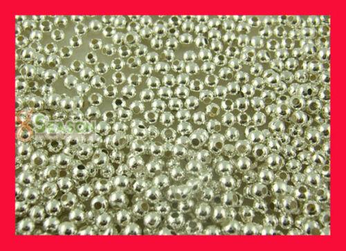 2000 Versilbert glatt rund Spacer Perlen Beads 2.4mm D.