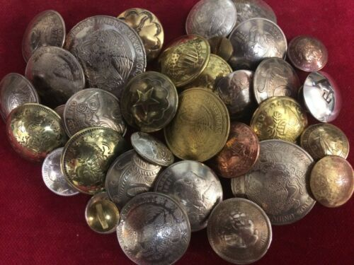 Conchos various metals /& sizes all post /& Screw 20 Mixed Bag of Coins /& Tokens