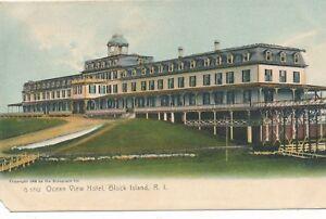 BLOCK-ISLAND-RI-Ocean-View-Hotel-Glitter-Covered-Postcard-udb-1906