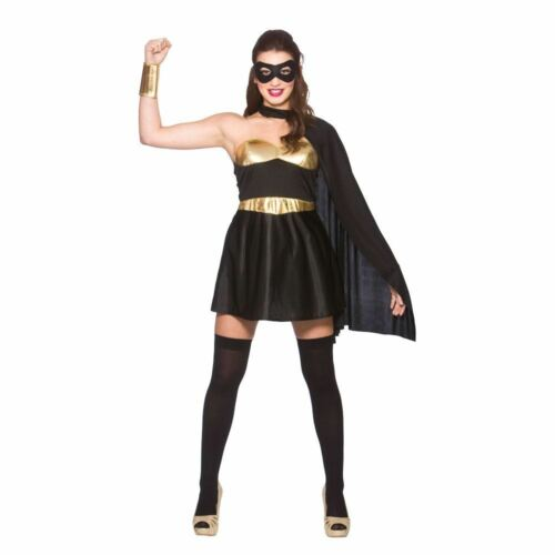 Ladies SUPERHERO Costume Comic Book Super Hero Fancy Dress Adult UK Sizes 6-20
