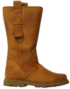 Junior Girls Childrens Timberland Winter Classic Tall Zip Up Wheat Leather Boots