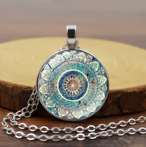 Flower-Photo-Cabochon-Glass-Tibetan-Silver-Chain-Round-Pendant-Necklace-Gift