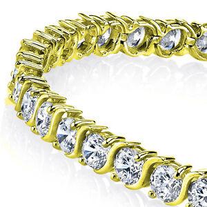 5mm-14K-Gold-Plated-Sterling-Silver-034-S-034-Shape-Cubic-Zirconia-Tennis-Bracelet