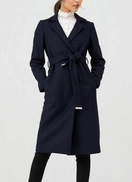 Ted Baker Coat Chelsyy navy buttoned wool wrap SIZE 2 UK 10