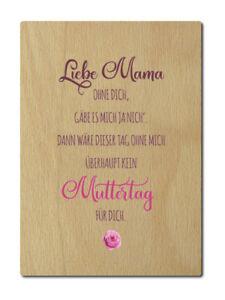 luxecards postkarte aus holz liebe mama ohne dich muttertag gedicht gru karte ebay. Black Bedroom Furniture Sets. Home Design Ideas