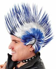 Mens 70s 80s White Blue Multi Spike Punk Rock Mohican WIG Fancy Dress Costume