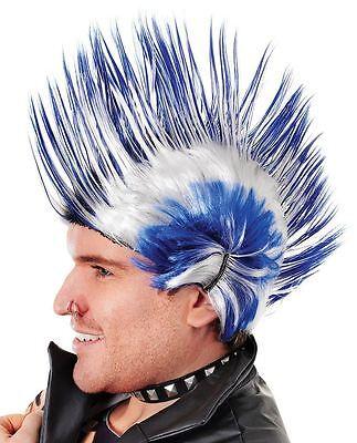 Mens White Blue Scottish Multi Spike Punk Rock Mohican WIG Fancy Dress Accessory
