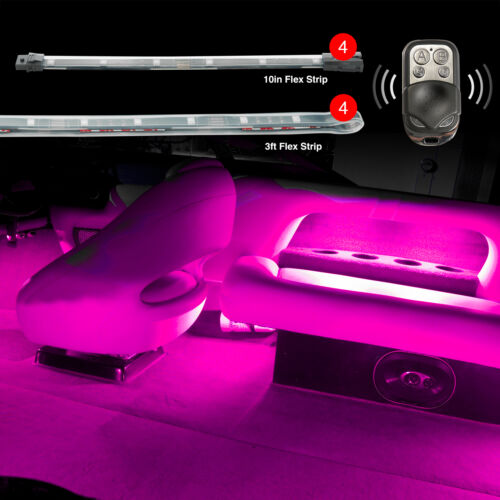 """4pc 36/"""" Strips 4pc 10/"""" Strips BOAT NEON LED ACCENT GLOW LIGHTING EASY INSTALL"""