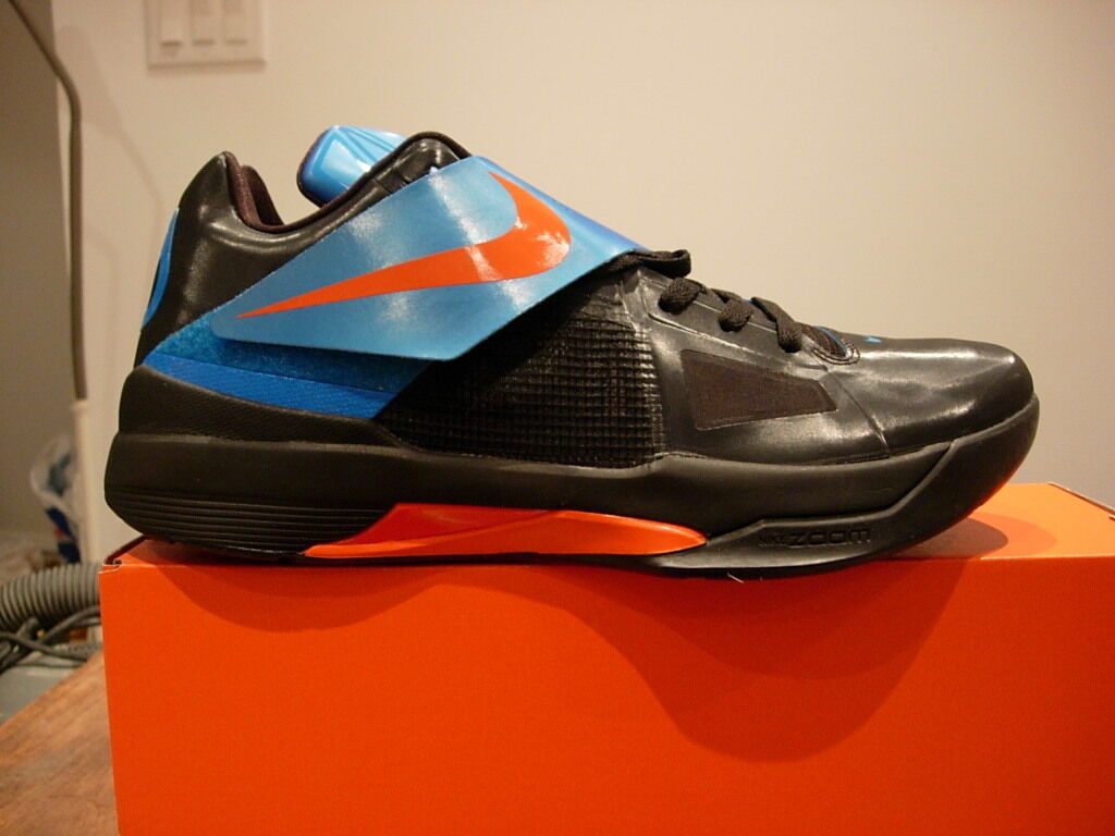 Nike Zoom KD IV,  Basketball Durant Black/Blue, Mens 10