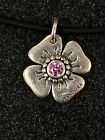 Sterling Silver Pandora Flower Pendant with Pink CZ