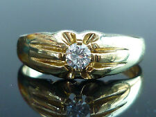 Stunning Heavy 18ct gold 0.25ct Brilliant cut gents solitaire diamond ring J4
