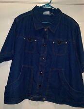 Fashion Bug NWT Womans Plus Blue Jean Button Down Shirt OR Light Jacket Sz 22/24