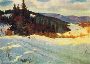 1955-Russian-postcard-WINTER-IN-CARPATY-by-Ukrainian-painter-Anton-Kashshay
